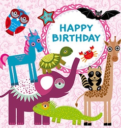 Funny animals party card design on a pink floral vector image vector image