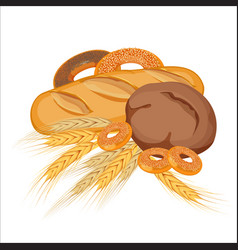 set of bakery products with gold wheat and yellow vector image