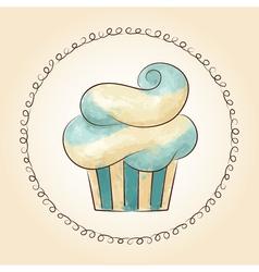 watercolor waved cupcake vector image