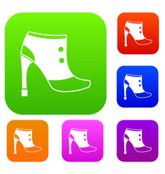 women boots set collection vector image vector image