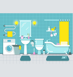 bathroom home interior with shower bath and vector image vector image