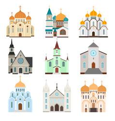christian sanctuary building icons vector image