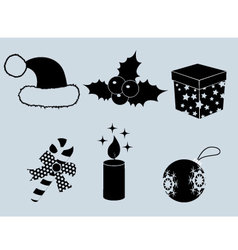Christmas set of icons collection silhouette 2 vector image vector image