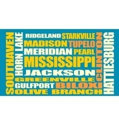 Mississippi state cities list vector