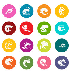 sea waves icons many colors set vector image vector image