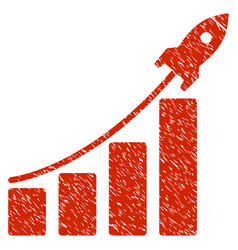 Startup rocket bar chart grunge icon vector