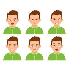 boy face expression set vector image