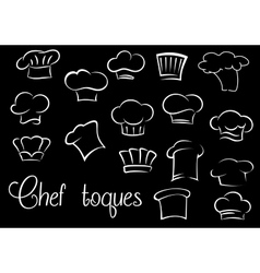 Chef toques and baker hats on black background vector image