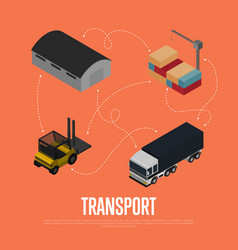commercial cargo transport isometric concept vector image vector image