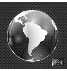 Glass Globe icon on metal background vector image vector image