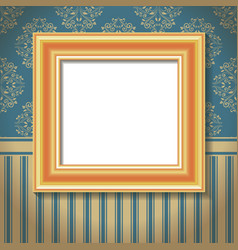 Golden empty frame on the wall vector
