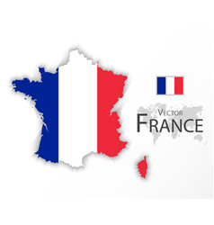 republic of france flag and map vector image vector image