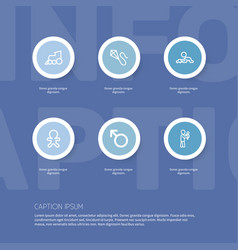 Set of 6 editable relatives outline icons vector