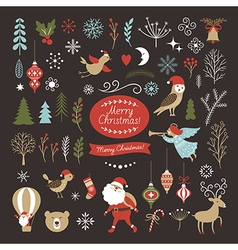 Set of Christmas graphic elements on a black backg vector image