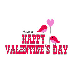 valentines day graphic with cute birds vector image vector image
