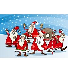 cartoon group of santa clauses vector image