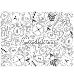 casino line art design vector image