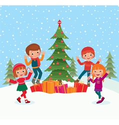 Children celebrate Christmas vector image vector image