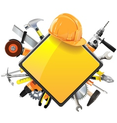 Construction Sign with Tools vector image vector image