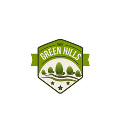 eco green hills icon of forest nature vector image vector image