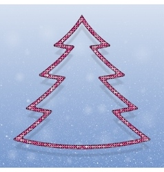 Falling snow pink sequins christmas tree vector