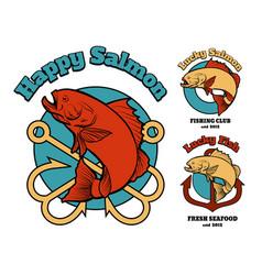 fishing club or company emblem set vector image