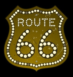 Illuminated Route 66 Sign vector image