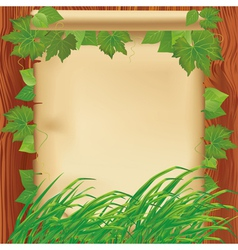 Nature background with leaves grass and paper vector image vector image