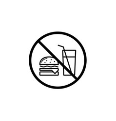 no food allowed line icon prohibition sign vector image