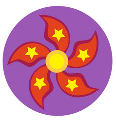 red spinner with five blades in the form of petal vector image