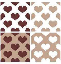 Seamless brown background set with hearts vector image vector image