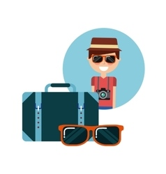 tourist person with camera photographic vector image vector image