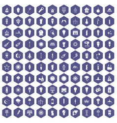 100 light source icons hexagon purple vector