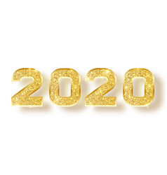 2020 glitter typography design gold sparkling vector image