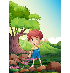 A happy boy waving near the rocks vector image