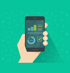 analytics data on mobile phone screen vector image