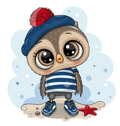 bacartoon owl in sailor costume vector image