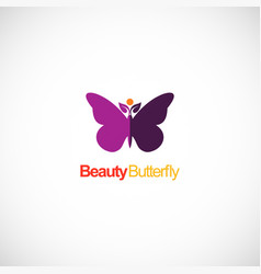 beauty butterfly colored logo vector image