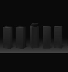 black cardboard box mockup premium packaging vector image