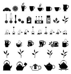 black tea icons set vector image