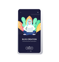 blogger using laptor high quality content creation vector image