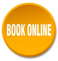 book online orange round flat isolated push button vector image