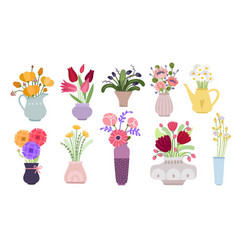 bouquets garden flowers bunch blooming summer vector image