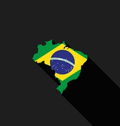 Brazil flag map flat design icon vector image