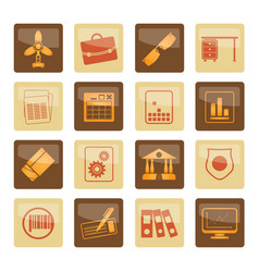 Business and office icons over brown background vector