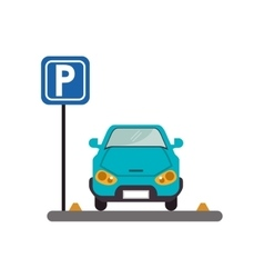 Car vehicle and parking zone design vector
