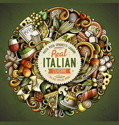 Cartoon doodles italian food vector