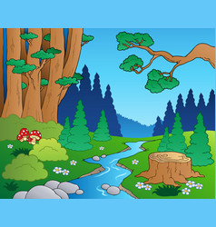 Cartoon forest landscape 1 vector