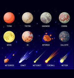 Cartoon planets solar system planets galaxy vector