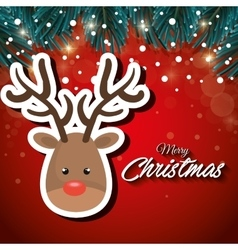 cartoon reindeer face merry christmas vector image